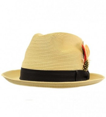 Removable Feather Fedora Hat Natural