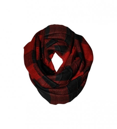 Red & Black Buffalo Check Infinity Scarf Funky Monkey Fashion Warm Cozy Scarves - CR1874ZMTD4