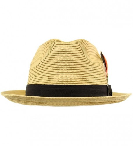 Removable Feather Fedora Hat Natural in Men's Fedoras