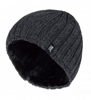 Men's Heat Holders Plain Ribbed Knitted 3.4 tog Thermal Winter Beanie Hat Grey - CK11HQSEK4N