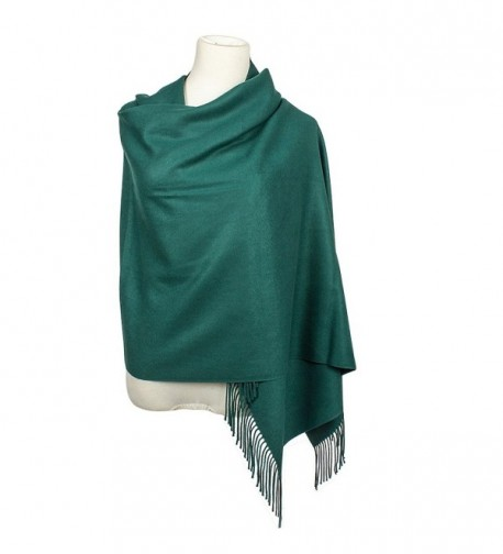 Colleer Pashmina Style Wrap Scarf Solid Colour Shawl Pure Cashmere - All Seasons - Green - CB188IIGXS4