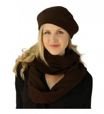 Ladies 2pc Winter Chunky Knit Beret Beanie Tam Hat Long Infinity Scarf Set - Brown - CI12608WM03