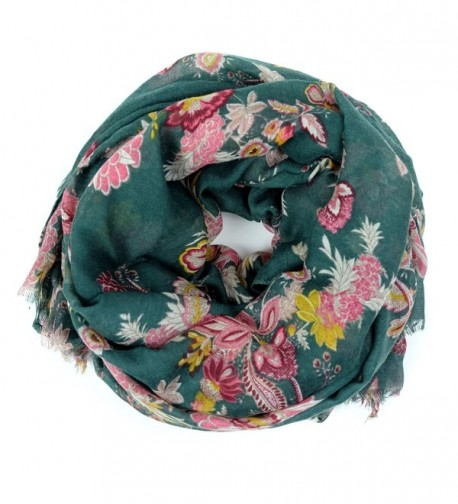 Scarves for Women: Lightweight Elegant Floral Fashion shawl by MIMOSITO - Green Floral - CH18C3NCG0M