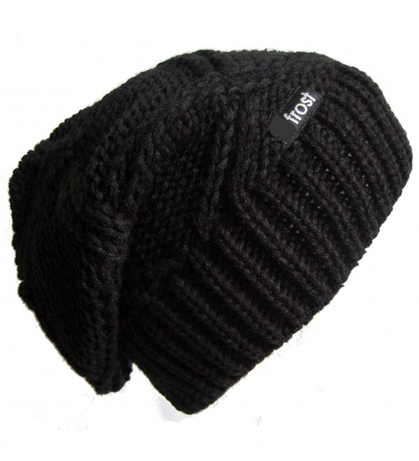 d281cbb88024a9 Frost Hats Slouchy Beanie for Women | Plush Knitted Winter Hat Stocking Cap  M113NF - Black