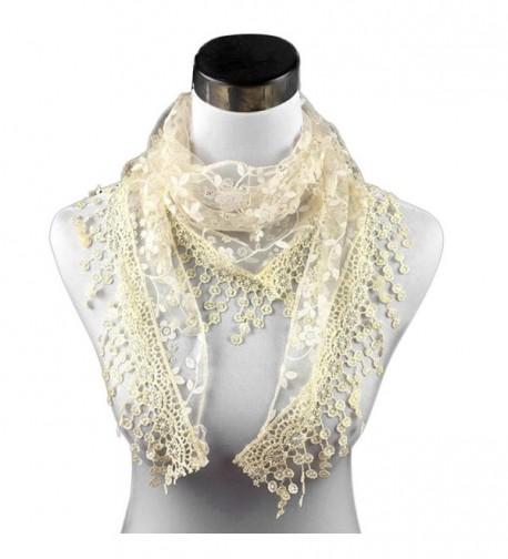 Rumas Fashion Lace Tassel Sheer Floral Print Triangle Mantilla Scarf Shawl - Beige - CZ12MOHG10L