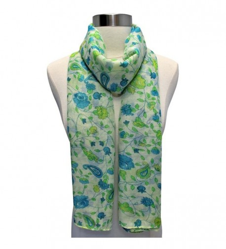 Green Floral Print Summer Scarf