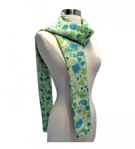 Green Floral Print Summer Scarf in Fashion Scarves