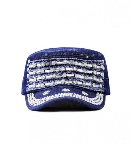 The Hat Depot 200h5366 Beaded Bling Crystal Rhinestone Cadet Cap 2 Colors - DARK DENIM BLUE - C11254LPFO7