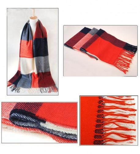 Bthdhk Womens Warm Long Plaid Shawl Scarf for Fashion Wear Gorgeous Wrap Shawl -- - Red - C412NYZL0EU
