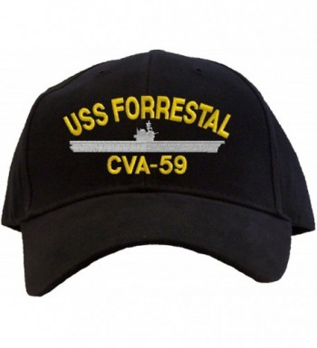 USS Forrestal CVA-59 Embroidered Baseball Cap - Black - CC11FQRZGSZ