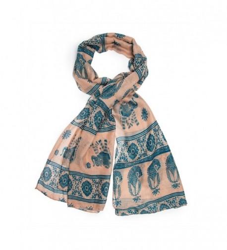 Bohomonde Gaja Shawl- Paisley Indian Elephant Print Scarf- Shawl- Beach Wrap - Peach/Teal - CT11QHMBDNP