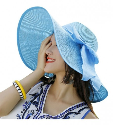 Women Floppy Hat Big Bowknot Straw Hat Wide Brim Beach Hat Sun Hat - Sky Blue - CL17YDYDLGU