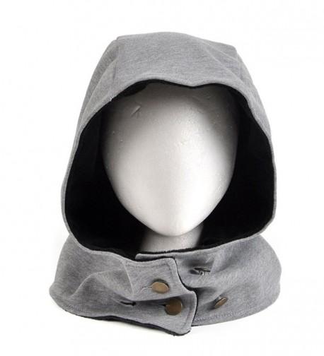 LOCOMO Women Men Gray Hood Button Hat Cap Wind Resistant Neck Warmer FFH079 - Gray - CF12NA7T8KQ