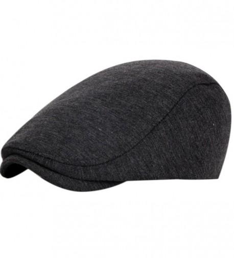 QingSun Men's Cotton Flat Cap Newsboy Hunting Hat Cotton Spring Autumn Winter Hat - Dark Gray - CG182AK3QHA