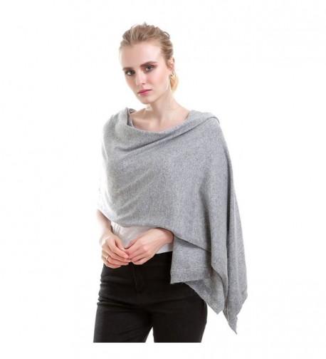 Vemolla Women Knitted Wool Solid Long Shawl Scarf Warp - Soft Grey - CY187R8RLKH