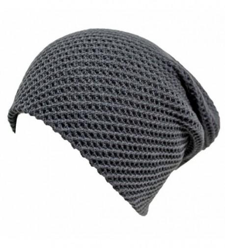 Luxury Divas Waffle Knit Slouchy Beanie Cap Hat - Gray - CQ11G4LOPNJ