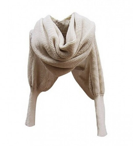 Losuya Women Solid Scarf with Sleeves Crochet Knit Long Soft Wrap Shawl Scarves (Beige) - CP11RNP40C1