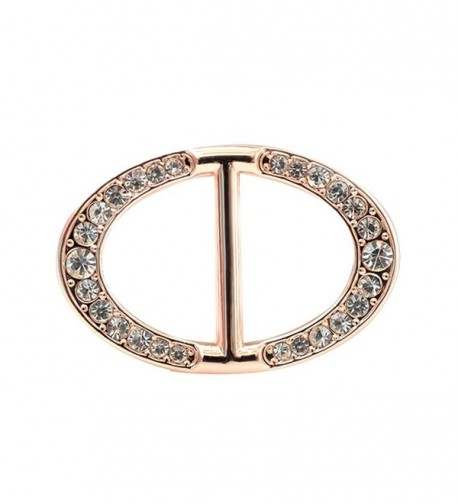 Vintage Oval Round Scarf Ring Rhinestone Scarves Buckle Women Jewelry Rose Gold - C212N43NSJO