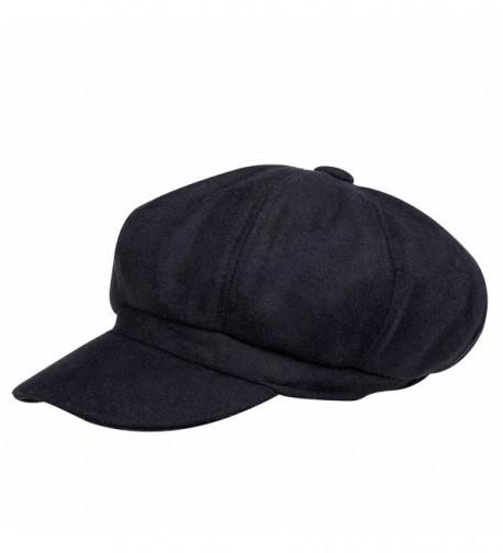 VBIGER newsboy Hat Beret Hat Fedora Wool Blend Cap Collection Hats Cabbie Visor Cap For Men Women - Black - CD125LOGLMR