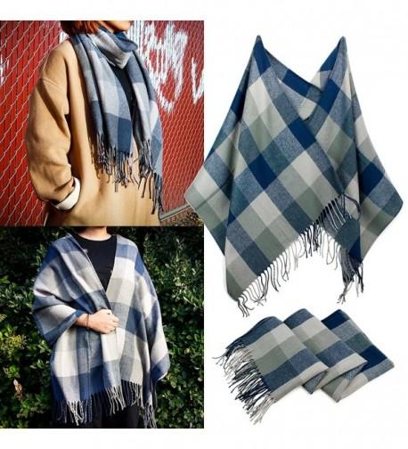 Oct17 Women's Plaid Scarf Blanket Shawl Grid Winter Cozy Tartan Wrap with Fringe - Blue Gray - CH1882YWYK7