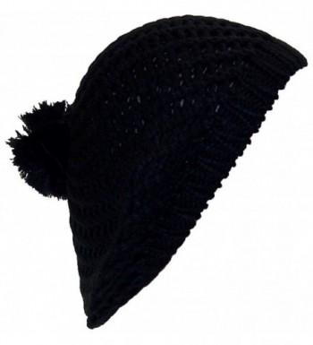 Best Winter Hats Open Swirl Weave Knit Solid Color Winter Beret w/Pom Pom (One Size) - Black - CU11P6D5OQ3