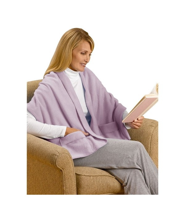 "Unisex Adult Warm Polyester Fleece Shawl Blanket Cover with Pockets - 20"" x 58"" - Lavender - C011QW6NODN"