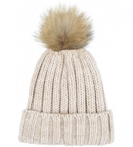 Lilax Knit Faux Fur Pom Pom Thick Ribbed Soft Warm Beanie Hat - Beige - CD12MRCD6D3