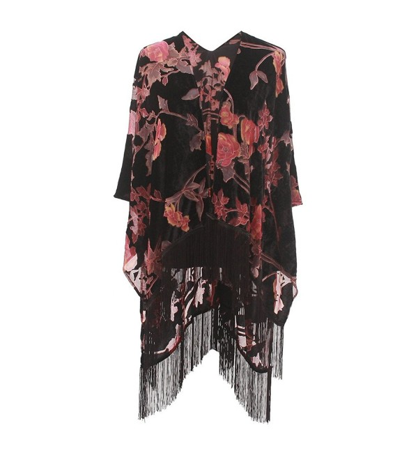 Genovega Floral Burnout Velvet Dress Kimono Cardigan Poncho With Fringe Velvet Shawls Wraps - CJ187IIS8IH