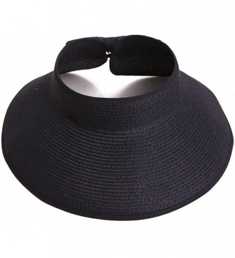 Women's Summer Wide Brim Roll-Up Straw Sun Visor Hat - Black - CH17Z35O4LZ