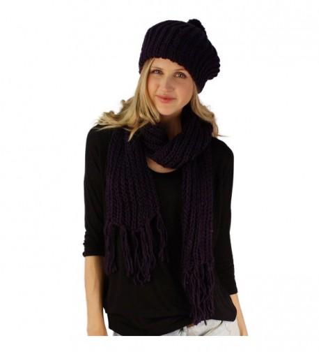 Handknit 2pc Winter Ribbed Knit Ski Beret Pom Pom Beanie Hat w Scarf Set - Purple - C811FXOGCDT