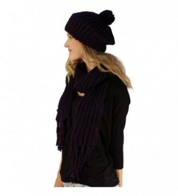Handknit Winter Ribbed Beanie Hat in Women's Berets