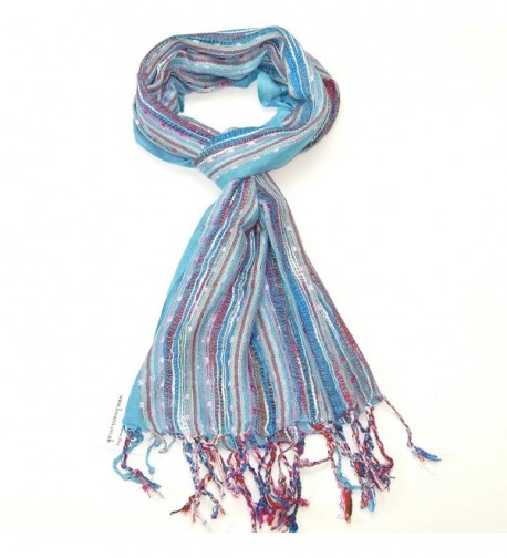 Lovarzi Women's Colourful Scarf - Versatile and dazzling scarf for women - Turquoise Blue - CN116MS07GD