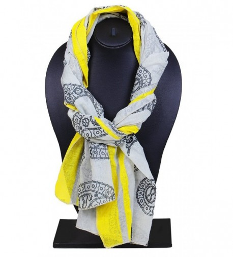 Store Indya- Cotton Scarf Scarves Stole Wrap Hand Woven Fashion for Women Girls - Grey & Yellow - CG12D770S0L