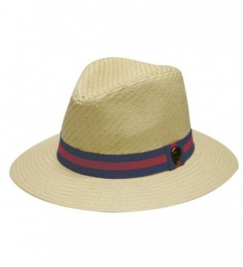 Pamoa Unisex Pms480 Band Wide Brim Straw Fedora Hats (3 Colors) - Natural - CS12D8L0BXP