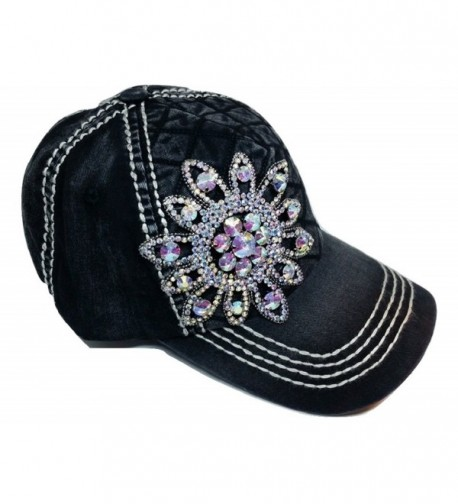 Olive & Pique Women's Iridescent Quilted Flower Bling Baseball Cap - Black - CF12O6SN2C2