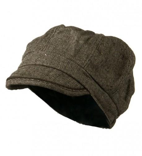 Lady's Wool Blend Tweed Newsboy Cap - Brown Beige W10S52E - CK11BKZZBGT