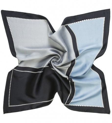 K-ELeven Silk Scarf Women's Small Square Satin Hair Scarf 23.6 x 23.6 inches - D-gray - CU17YC32866