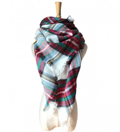 Women's Tassels Soft Plaid Tartan Scarf Stylish Warm Large Blanket Wrap Shawl - White-Red - C11868ETU3N