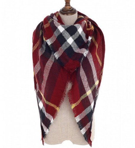 Women Plaid Blanket Scarf Wrap Shawl Big Triangle Scarves Warm Tartan Gorgeous Shawl - Red White - CT188D0YRU7