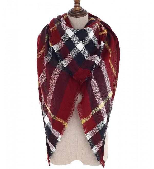 Women Plaid Blanket Scarf Wrap Shawl Big Triangle Scarves Warm Tartan Gorgeous Shawl - Red White - CT188D0YRU7
