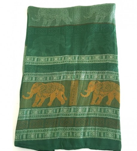 Oma Thai Elephant Silk Scarf Head Wrap Purple & Gold- LARGE SIZE - Green/Gold - CT12F1HMUQZ