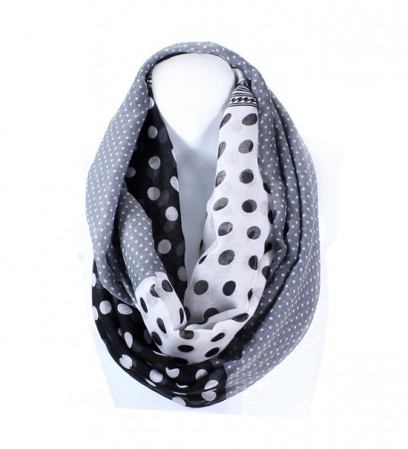 AN Infinity Scarf for Women Lightweight Polka Dots Wide Blanket Style Snood Loop - Black - CC11VH8KH9F