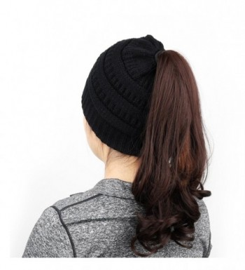 63f42574e Women's Knit Hat- BeanieTail Soft Stretch Cable Knit High Bun Ponytail  Beanie Hat Black CJ1885IL8QG