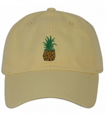 Pineapple Embroidery Dad Hat Baseball Cap Polo Style Unconstructed - Lt. Yellow - CF182AOX62S