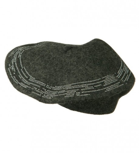 Stone Lined Wool Beret Grey