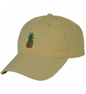 Pineapple Embroidery Baseball Unconstructed Yellow