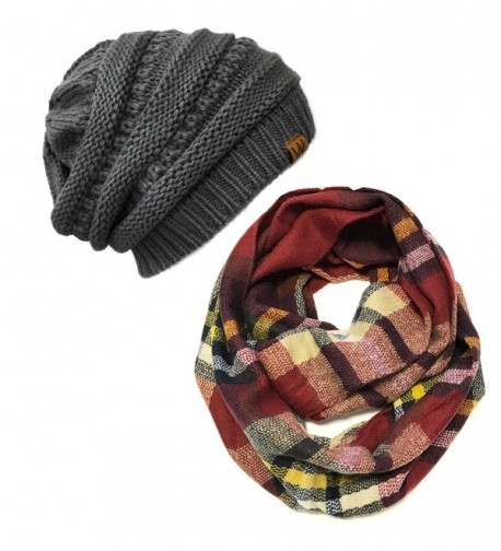 Wrapables Winter Warm Knitted Infinity Scarf and Beanie Hat Set - Red/Black and Charcoal Grey Set - CP1850T72H9