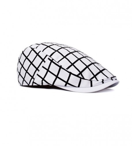 Xelue FF Unisex Trendy Vintage Unique Wool Cotton newsboy Cap Hunting Hat Beret Flat Cap - White Checked - CT18862HMDC