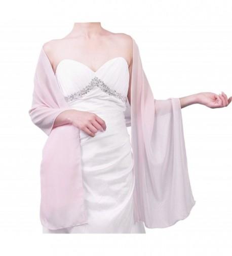 Firose Women's Satin/Chiffon Evening Scarves Bridal Cape Wedding Shawl Wraps Pashmina - Chiffon Pink - CD12MAXFA6Y