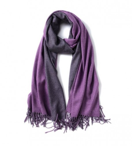 MaaMgic Womens Soft Cashmere Feel Pashmina Shawls Wraps Large Long Winter Scarf - Purple and Darkpurple - CB185DT3H02